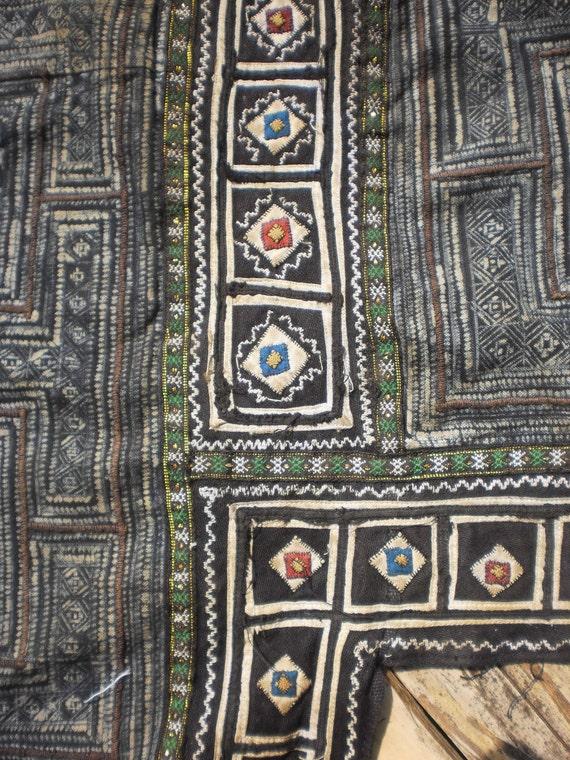 Hmong Vintage Tribal Indigo Batik And Hand Embroidery
