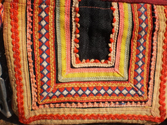 Tribal Vintage Hmong Purse Made With Upcycled Hmong  Hilltribe Textile Hand Made
