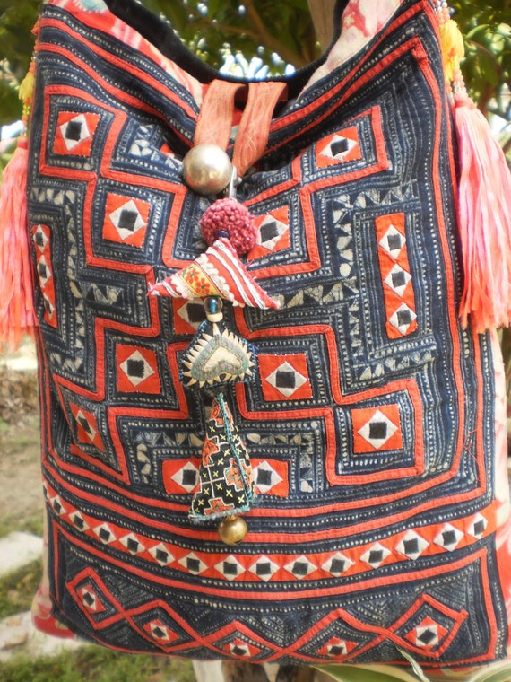 Tribal Vintage Hmong Bag Made With Upcycled Hmong  Hilltribe Textile