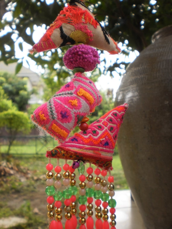 Hmong Textile Mobile Beautiful Decoration Made With Beads, Bells and Pompom