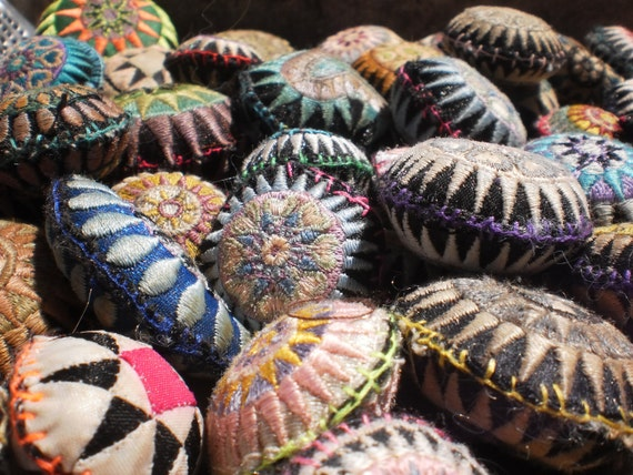 35 Textile Pockets HandMade with Upcycled Hmong Hilltribe Embroidery