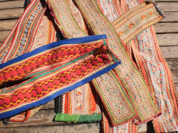 Vintage Hmong Old Fabric Embroided Tribal Straps 6 Pairs ( 12 pieces)