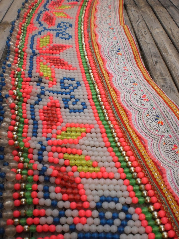Hmong Textile Vintage Embroided and Bead Strap