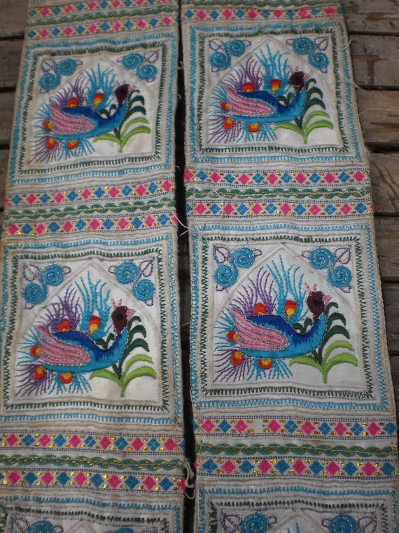 Embroided Textile Tribal  Panel By The Hmong Hilltribe People