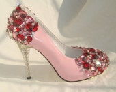 Handmade pink Crystal wedding shoes, leather shoes for party too