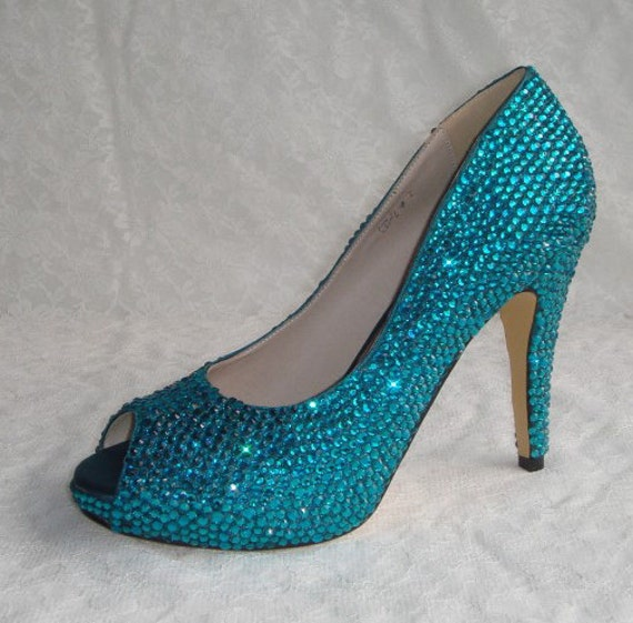 Shinning crystal wedding shoes or for party teal color rhinestones, other colors available too