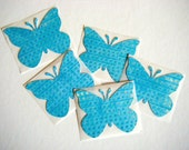 Large Butterfly Stickers - turquoise blue distressed
