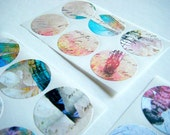 Art Stickers - envelope seals set of 30 - Dragonfly Script - multicolor pastels