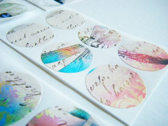 Art Stickers - envelope seals set of 30 - Dragonfly Script - multicolor