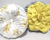 Yellow-Black Round Pillow and Pillow Cover Set 16""