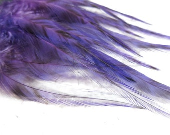 Grizzly Feathers, Purple, Rooster Feathers, Qty12