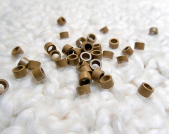 Crimp Beads, Micro Links, Screw Type Hair Beads, LIGHT OR DARK Brown Qty 30