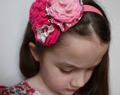 Betsy Liberty Print and Pink Felt Flower Headband for Flower Girls Bridesmaids and stylish girls and toddlers handmade in London England