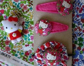 Limited Edtion Japanese Pink Liberty Print Hello Kitty fabric girls hairclip and hair elastic - Handmade in London, England