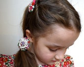 Pink Betsy Liberty Print floral flower fabric button girls hairclip and fabric and lace yoyo hairband elastic - Handmade in London, England