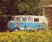Hippie Bus Photo, Vintage Volkswagon Photography, Retro Rainbow VW Picture, Bright Dorm Office Livingroom Bedroom Print, Home Decor Wall Art