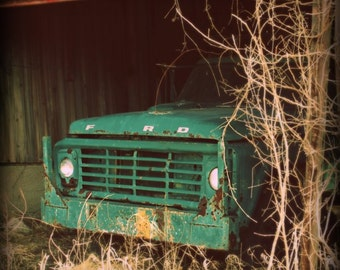 Ford Truck Photo, Vintage Car Photography, Man Cave Print, Country Rustic Barn Farmhouse Picture, Home Decor Wall Art, Aqua Turquoise Decor
