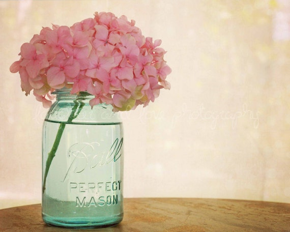 Pink Hydrangea Fine Art Photography Shabby Chic Romantic Feminine Aqua Blue Mason Jar Farmhouse Rustic Cottage Home Decor Wall Art