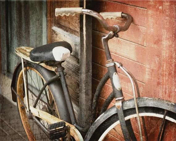 Vintage Bike Photo, Bicycle Photography, Retro Travel Hipster Print, Rustic Man Cave Decor, Home Decor Wall Art Livingroom Office Dorm Decor
