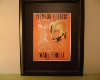 Vintage 1955 Clemson-Wake Forest Official football program print ready for framing