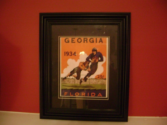 Vintage 1934 Georgia-Florida Gators Official football program print ready for framing