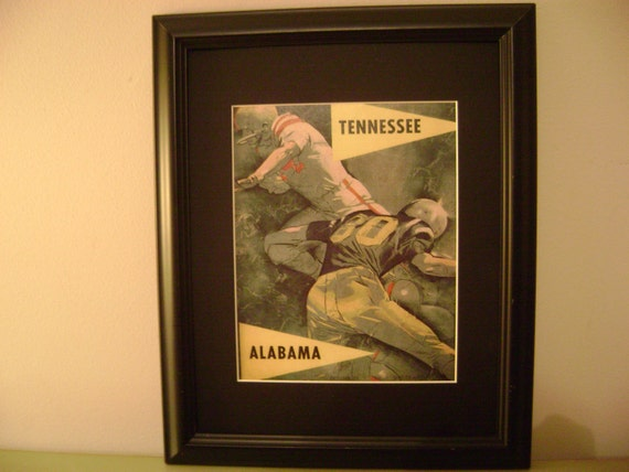 Vintage 1960 Tennessee-Alabama official football program print ready for framing