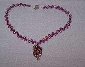Reserved for Hegman Beaded Freshwater Pearls dyed Purple Necklace with Shell Pendant