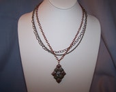 Reserved for Hegman  Fabulous Brass, Copper, Silver Tri Color Metal Chain & Pendant Necklace