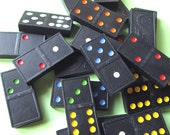 Vintage Black Dragon Dominoes with Colored Dots-- Scrapbooking, Altered Art, Jewelry, Mixed Media (W-03)
