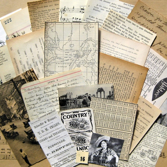 Vintage Paper Ephemera Pack--Small-Sized Collection for Scrapbooking, Collage, ATC's (EP-01)
