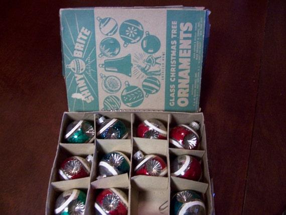 RESERVED - Vintage Shiny Brite Indent Starburst Glass Christmas Tree Ornaments