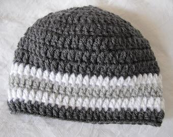 Striped Baby Beanie   Crochet Baby Hat   Knit Baby Hat   Boys Knit Hat   Winter Boys Hat