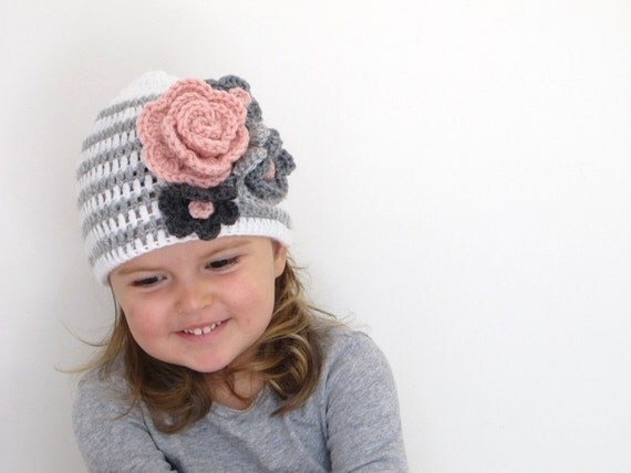 Lisa - Toddler Crochet Knit Girl Hat in Pinks and Greys sizes 6-12m to Teen