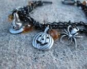 Black and Orange Halloween Charm Bracelet