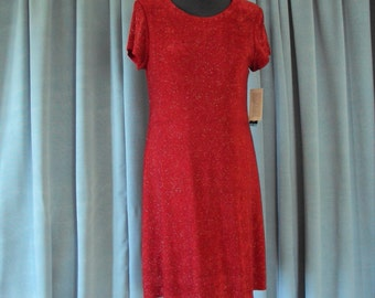 Red A-line Dress with silver sparkles--wonderful for the holiday parties or cruise wear