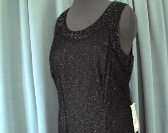 Black Beaded Dress  floor length  Holiday parties or cruise wear  retro, vintage