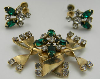 Demi Parure gold filled emerald green P and F vintage