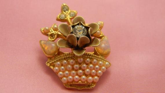Vintage flowers in basket brooch pink faux pearls enamel