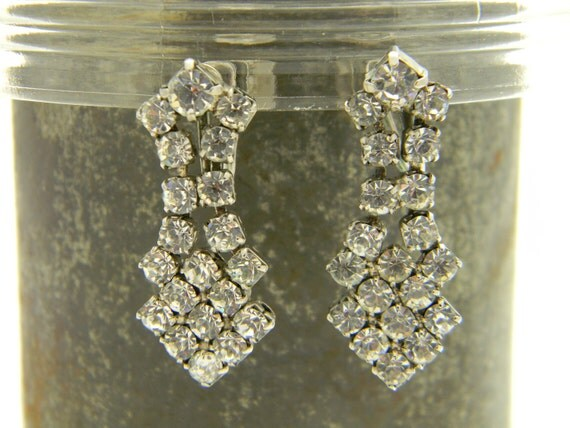 Vintage D'ver's of N.Y. Art Deco rhinestone earrings
