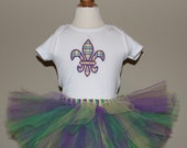 Mardi Gras Tutu Set For Baby Or Toddler (Choose which shirt design you want)