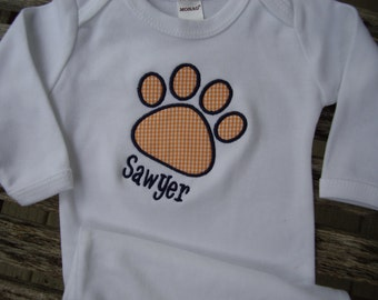 Auburn Tigers Infant Newborn Gown with Applique Embroidery Paw Print Personalized Baby Boy Girl