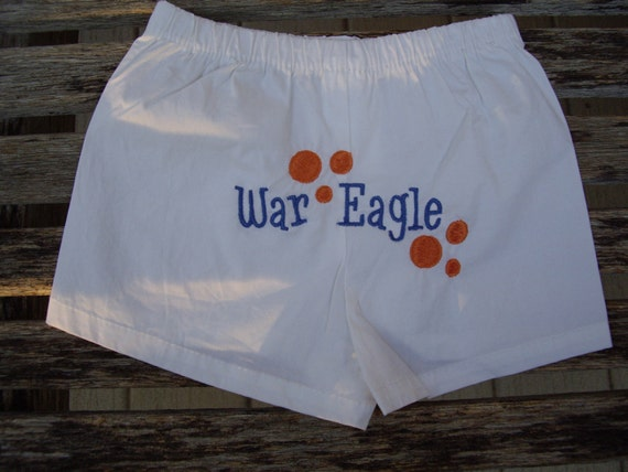 "Auburn Newborn Infants Baby Boys Boxer type Diaper Cover  Embroidered with  "" War Eagle"""