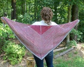 Womens Fashion Scarf, Knit Wool Shawl, Striped Scarf Shawl, Triangular Shawl, Red and Gray Stripes, Unisex Triangular Scarf