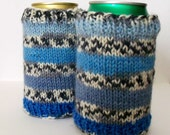 Can Cozy, Beer Cozy, Bottle Cozy, Blue Stripes, Soda Cozy, Drink Holder, Striped Cozy, Beer Holder, Bottle Cozy, Pop Cozy, Beer Sleeve