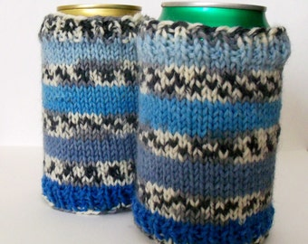 Blue Can Cozy, Striped Beer Cozy, Bottle Cozy, Soda Cozy, Drink Holder, Striped Cozy, Beer Holder, Bottle Cozy, Pop Cozy, Beer Sleeve