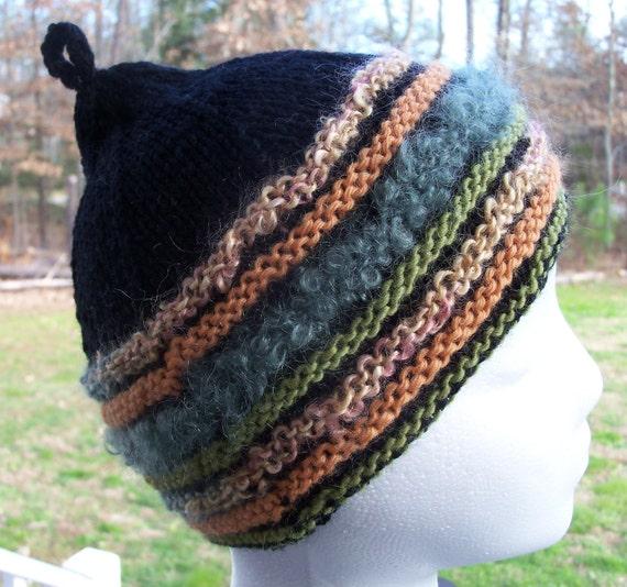 Knit Hat, Child's Beanie, Wool Beanie, Black, Striped Children's Hat, Child's Winter Hat, Black Hat, Striped Beanie, Ready to Ship