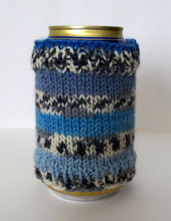 CLEARANCE Blue Stripes Can Cozy - hand knit