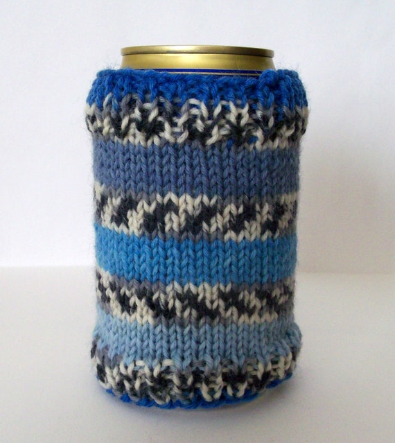 Blue Stripes Can Cozy - hand knit