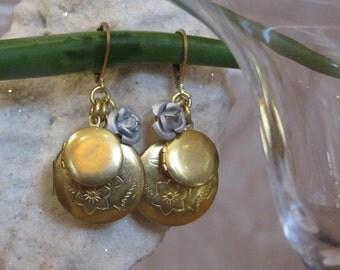 Love Like Lockets Earring Silver/ Raw Gold Locket Earrings, Wedding Jewelry