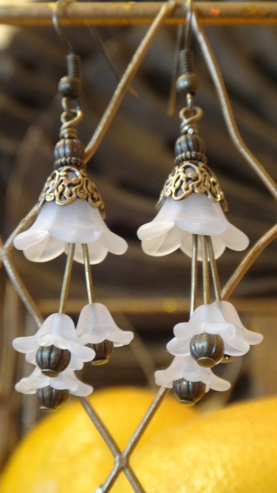 Lavishing Lilies- Victorian Earrings, Antique Jewelry, Dangle, Wedding Jewelry